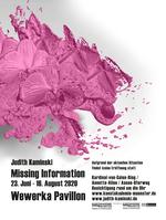 Plakat zur Ausstellung. Anklicken vergrößert Bild. Es zeigt: Ein Rechteck im Hochformat. auf weißem Grund ist eine rosafrabene amorphe Farbmasse zu sehen, aus der sich Figuren heruaszubilden scheinen. Darunter in schwarzer Schrift: Die Daten zur Ausstellung.