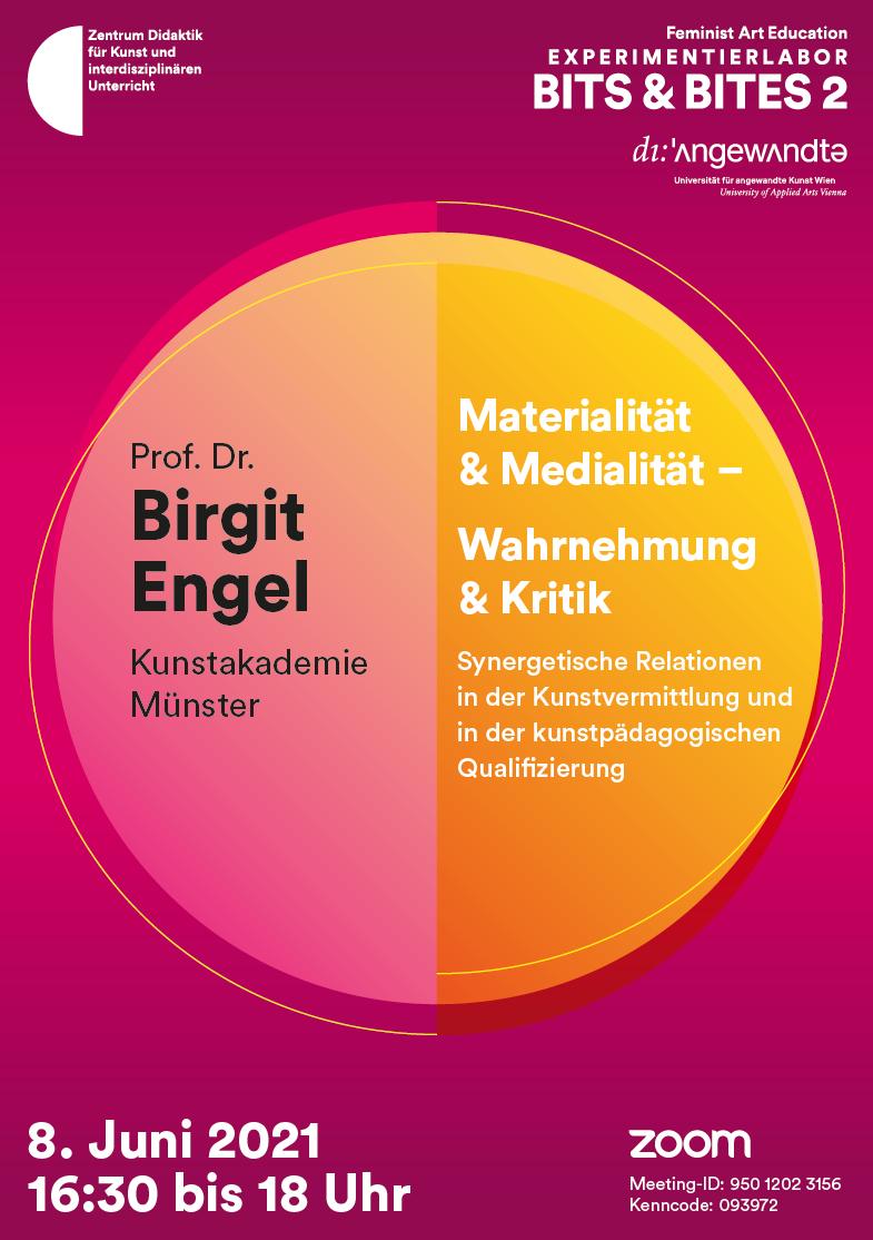 """Eventbild für Prof. Dr. Birgit Engel /// Online-Vortrag im Rahmen einer Vorlesungsreihe über """"Feminist Art Education"""""""